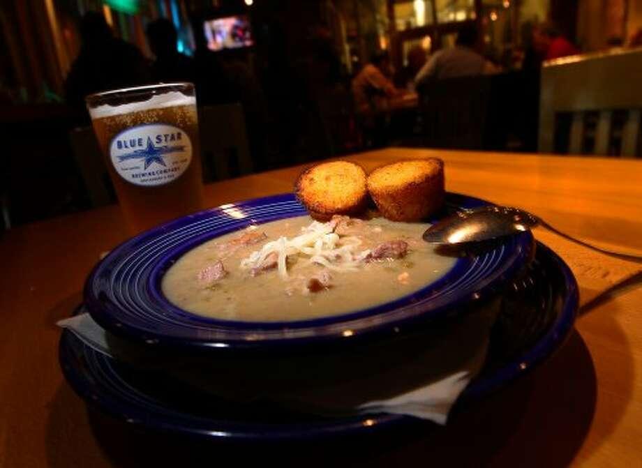 Blue Star Brewing's pork green chili for Chef's Secrets on Friday, Feb. 17, 2012. Kin Man Hui/San Antonio Express-News (San Antonio Express-News)