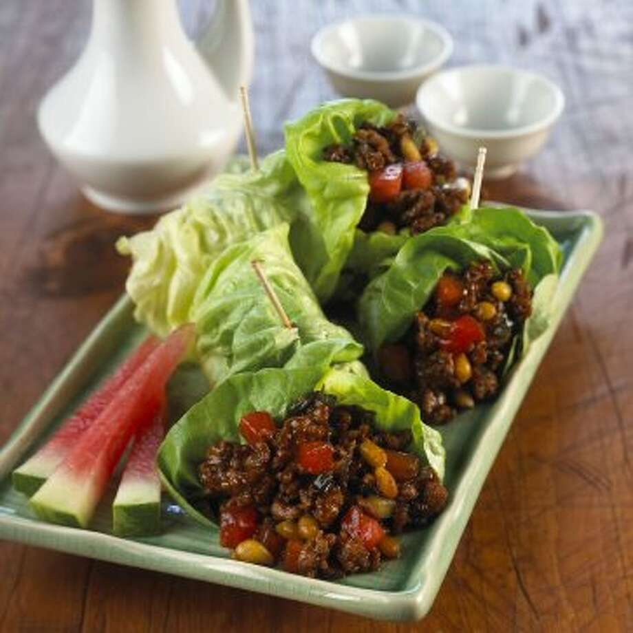 Minced pork and watermelon lettuce wraps (COURTESY THE NATIONAL WATERMELON)