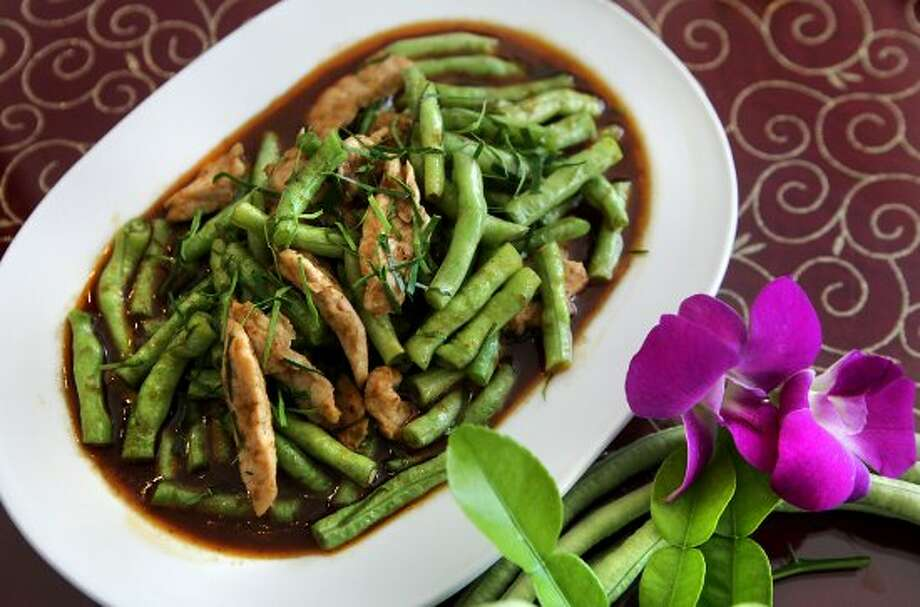 Green Beans and Pork in Red Curry called Pad Prik King, from Sarika's.  Monday, July 23, 2012. (San Antonio Express-News)
