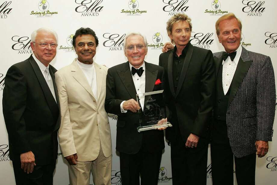 BEVERLY HILLS, CA - MAY 19:  (L to R) President of the Society of Singers Jerry F. Sharell, and singers Johnny Mathis, Andy Williams, Barry Manilow and Pat Boone pose for a photograph at The Society of Singers 17th Annual ELLA Awards at the Beverly Hilton Hotel on May 19, 2008 in Beverly Hills, California. Photo: Neilson Barnard, Getty Images / 2008 Getty Images