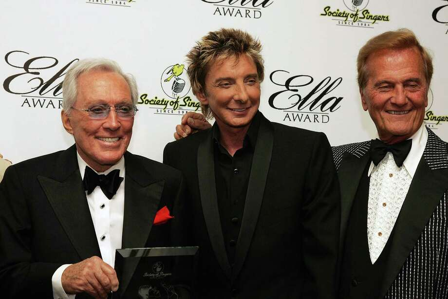BEVERLY HILLS, CA - MAY 19:  Singers Andy Williams, Barry Manilow and Pat Boone pose for a photograph at The Society of Singers 17th Annual ELLA Awards at the Beverly Hilton Hotel on May 19, 2008 in Beverly Hills, California. Photo: Neilson Barnard, Getty Images / 2008 Getty Images