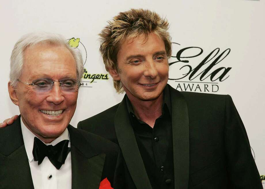 BEVERLY HILLS, CA - MAY 19:  (L to R) Singers Andy Williams and Barry Manilow pose for a photograph at The Society of Singers 17th Annual ELLA Awards at the Beverly Hilton Hotel on May 19, 2008 in Beverly Hills, California.  (Photo by Neilson Barnard/Getty Images) *** Local Caption *** Andy Williams;Barry Manilow Photo: Neilson Barnard, Getty Images / 2008 Getty Images