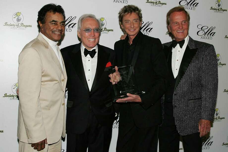 BEVERLY HILLS, CA - MAY 19:  (L to R) Singers Johnny Mathis, Andy Williams, Barry Manilow and Pat Boone pose for a photograph at The Society of Singers 17th Annual ELLA Awards at the Beverly Hilton Hotel on May 19, 2008 in Beverly Hills, California. Photo: Neilson Barnard, Getty Images / 2008 Getty Images