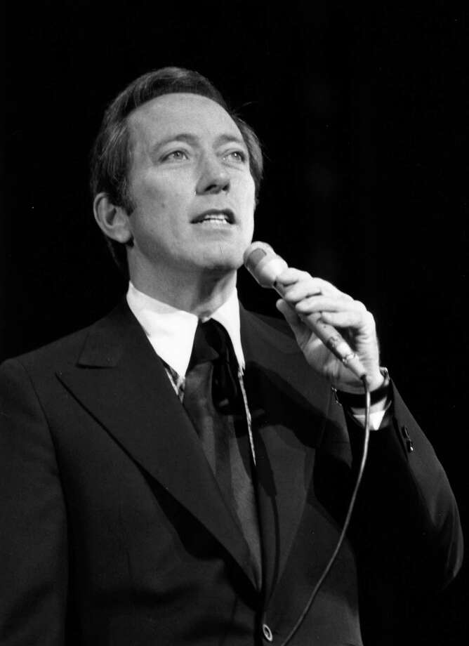 9th November 1970:  American singer Andy Williams, rehearsing at the London Palladium for a Royal Variety Performance. Photo: Central Press, Getty Images / Hulton Archive
