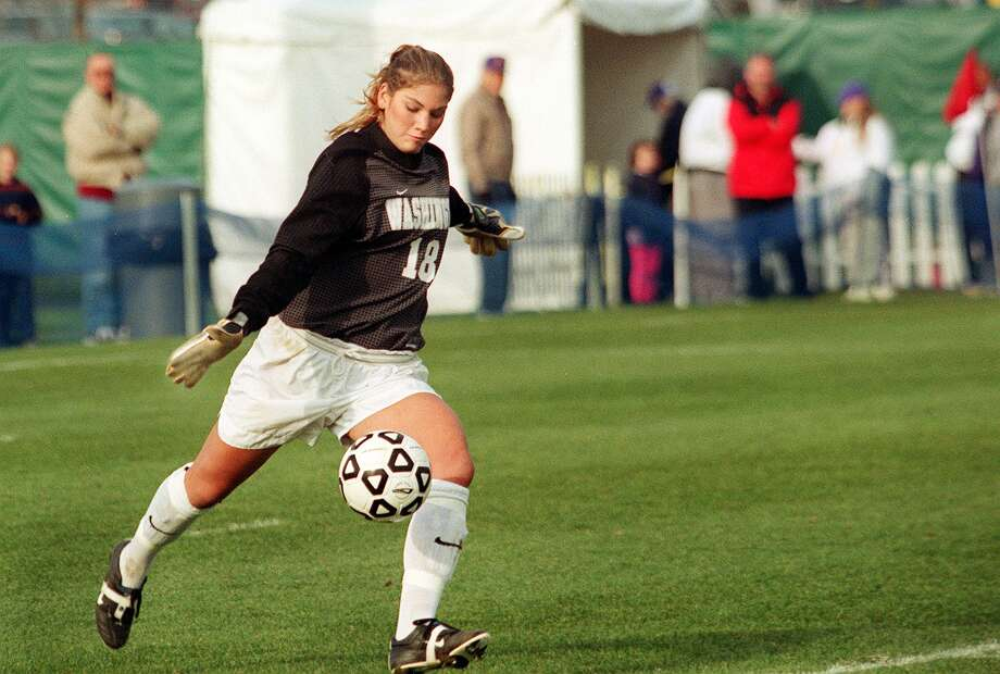 UW Huskie goalie Hope Solo returns the ball in the second half of a game against Montana on Nov. 12, 2000. Photo: DANIEL SHEEHAN