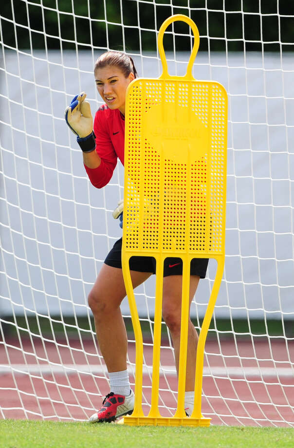 USA's goalkeeper Hope Solo stands in the goal during a training session on July 15, 2011, in Frankfurt/Main, two days before the final football match of the FIFA women's football World Cup Japan vs USA at the FIFA Frauen-WM-Stadion in Frankfurt/Main, central Germany, on July 17, 2011. Photo: JOHANNES EISELE, AFP/Getty Images / 2011 AFP