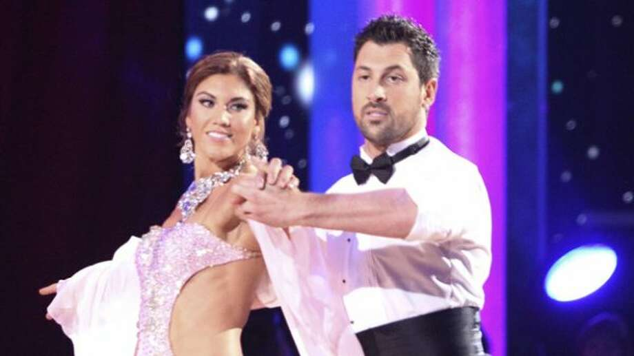 Hope Solo and partner Maksim Chmerkovskiy perform on the first night of Dancing with the Stars.