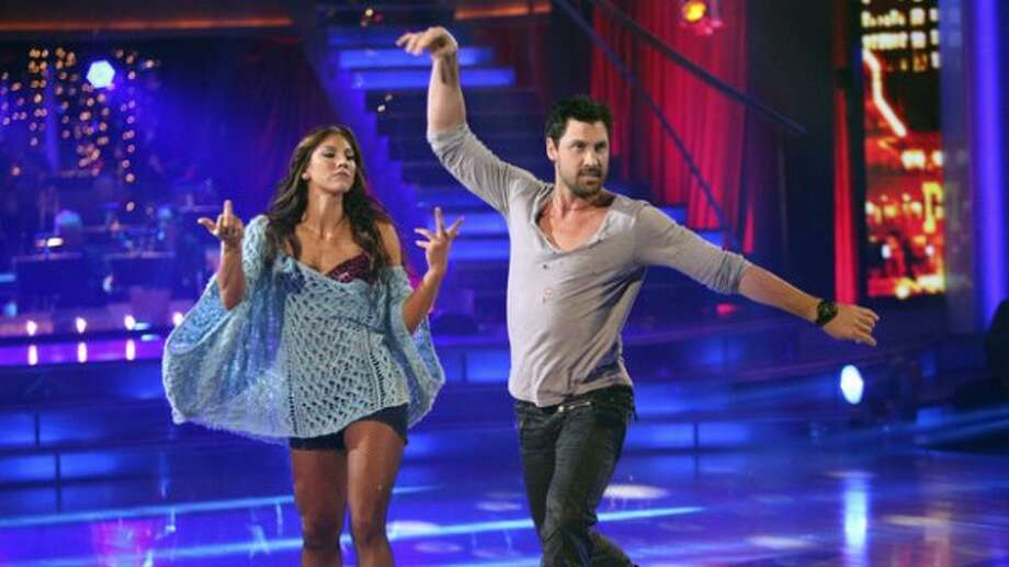 Hope Solo and Maksim Chmerkovskiy dance the rumba in Round 6 of Dancing with the Stars.