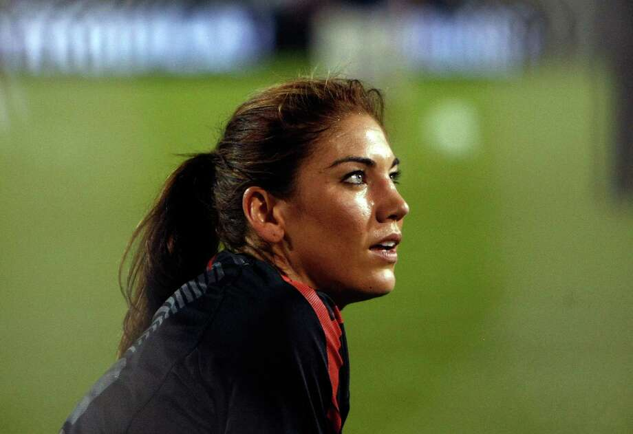 Goalkeeper Hope Solo of the United States warms up against Canada during the final match of the Celebration Series on Sept. 22, 2011, at Jeld-Wen Field in Portland, Ore. Photo: Jonathan Ferrey, Getty Images / 2011 Getty Images