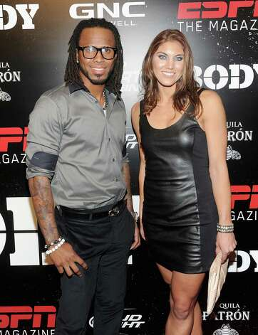 Jose Reyes, left, and Hope Solo attend ESPN the Magazine's 3rd annual Body Issue party at Highline Stages on October 6, 2011, in New York City. Photo: Jamie McCarthy, Getty Images / 2011 Getty Images