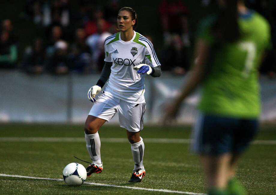 Seattle Sounders women's player Hope Solo prepares to kick the ball against Seattle Pacific University during the Sounders Women season opener on Monday, April 9, 2012, at Starfire Sports Stadium in Tukwila, Wash. Photo: JOSHUA TRUJILLO / SEATTLEPI.COM