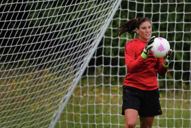 Hope Solo goalkeeper of USA women's Olympic soccerl team in action during a training session ahead of the Olympics on July 19, 2012, in Glasgow, Scotland. Photo: Jeff J Mitchell, Getty Images / 2012 Getty Images