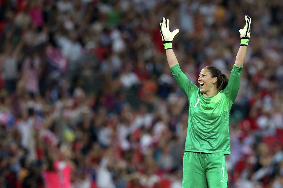 Goalkeeper Hope Solo of United States reacts against Japan during the women's soccerl gold-medal match on Day 13 of the London 2012 Olympic Games at Wembley Stadium on Aug. 9, 2012, in London, England. Photo: Ronald Martinez, Getty Images / 2012 Getty Images