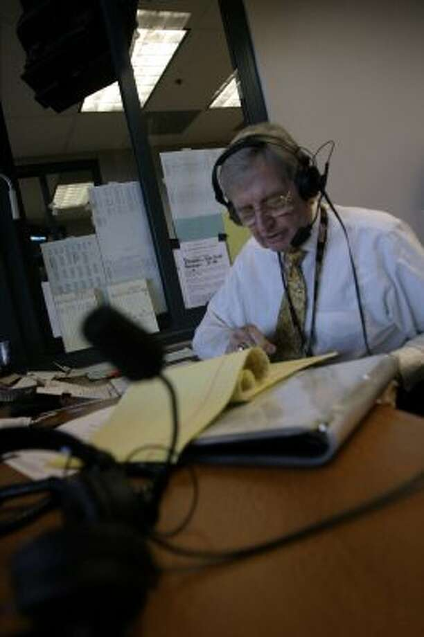 Milo Hamilton, a Hall of Fame broadcaster for the Astros, broadcasts the holiday game from Minute Maid Park in Houston, July 4, 2004.  (Meg Loucks / Houston Chronicle)