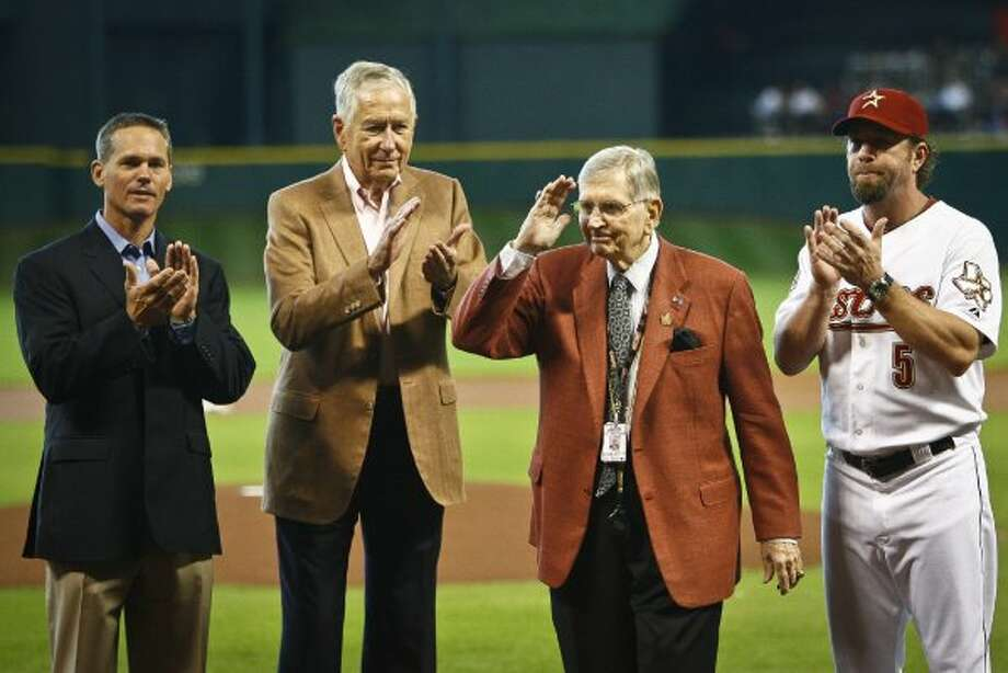 Milo Hamilton (second from right) is recognized for 65 years of broadcasting, and his 83rd birthday. (Michael Paulsen / Chronicle)