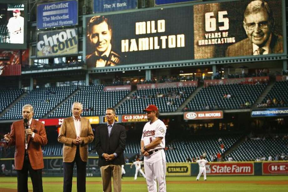 Milo Hamilton is recognized for 65 years of broadcasting, and his 83rd birthday. (Michael Paulsen / Chronicle)