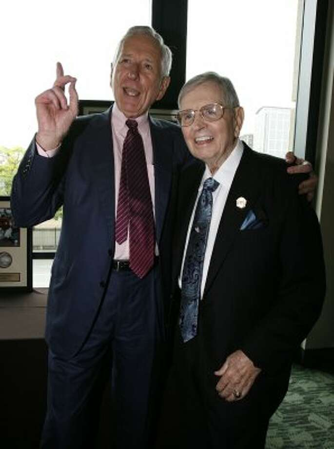 Party Watch photo of Astros in Action luncheon honoree Milo Hamilton (right) with Astros owner Drayton McLane in 2008. (Karen Warren / Houston Chronicle)