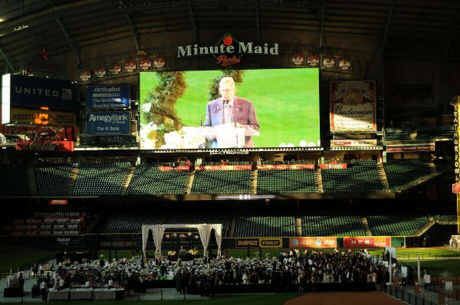 Milo Hamilton on the big screen during the Astros Wives Gala at Minute Maid Park Aug. 18, 2011. (Dave Rossman / For the Chronicle)