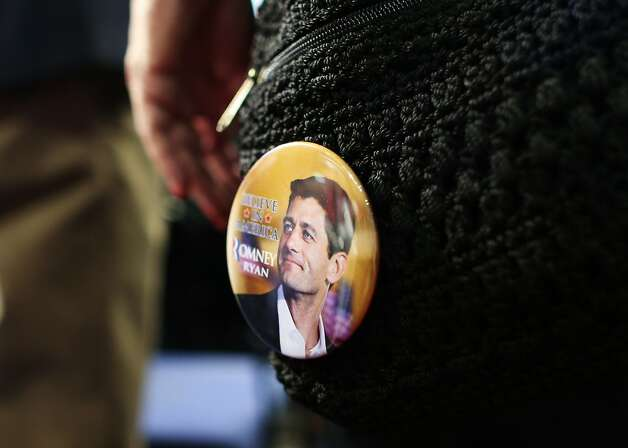 TAMPA, FL - AUGUST 27:  A person wears a button with the likeness of Republican vice presidential candidate, U.S. Rep. Paul Ryan (R-WI) during the Republican National Convention at the Tampa Bay Times Forum on August 27, 2012 in Tampa, Florida. The RNC is scheduled to convene today, but will hold its first full session tomorrow after being delayed due to Tropical Storm Isaac.  (Photo by Spencer Platt/Getty Images) (Spencer Platt / Getty Images)
