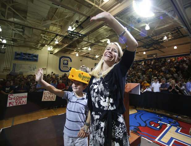 "JANESVILLE, WI - AUGUST 27:  Janna Ryan (R) and her son Sam Ryan wave during a ""Send-Off"" rally for her husband presumptive vice presidential candidate U.S. Rep. Paul Ryan (R-WI) August, 27, 2012 in Janesville, Wisconsin. Ryan and presumptive presidential candidate and former Massachusetts Gov. Mitt Romney will be on their way to Tampa, Florida for the Republican National Convention. The convention was gaveled open August 27 and immediately recessed until tomorrow because of Tropical Storm Isaac.  (Photo by Jeffrey Phelps/Getty Images) (Jeffrey Phelps / Getty Images)"