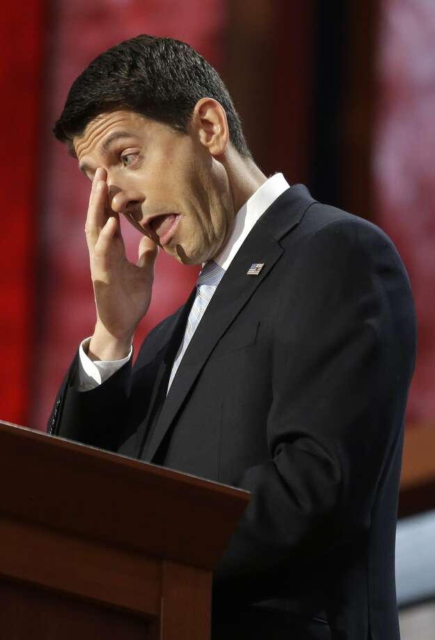Republican vice presidential nominee, Rep. Paul Ryan wipes his tears as he addresses the Republican National Convention in Tampa, Fla., on Wednesday, Aug. 29, 2012. (AP Photo/Charles Dharapak) (Associated Press)