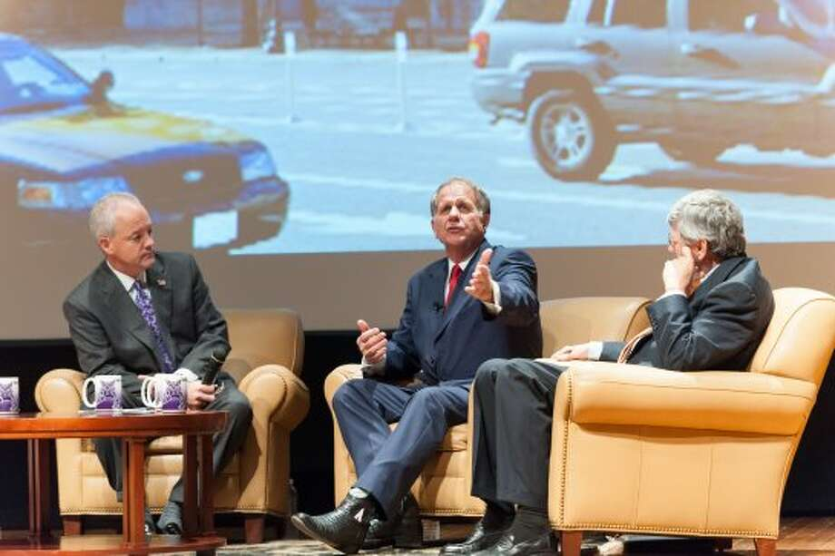 Ted Poe says good legislation is bipartisan legislation at a joint forum with Janice Hahn. (Paul A. White / © White\\\'s Photography - Abilene, TX)
