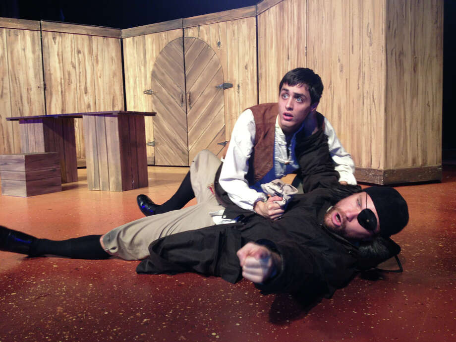 """Anthony Bosmans ( top) and John Stillwaggon appear in Magik Theatre's touring production of """"Treasure Island."""" Photo: Courtesy, Dave Morgan"""