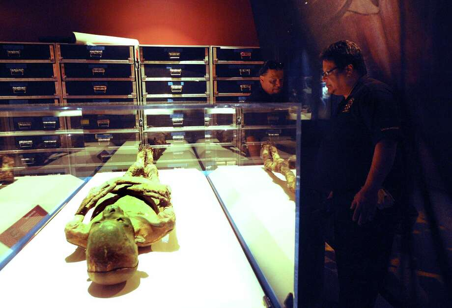 Mike Ochoa (right) helps set up the display of a high-status male mummy dating about 2,350 years ago. Photo: Billy Calzada, San Antonio Express-News / © San Antonio Express-News