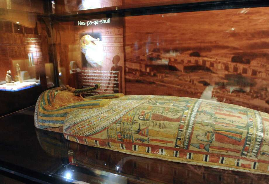 "The sarcophagus of a man named Nes-pa-qa-shuti, which dates to about 650 B.C., is on display at the ""Mummies of the World"" touring exhibit at the Witte Museum on Tuesday, Sept. 25, 2012. Photo: Billy Calzada, San Antonio Express-News / © San Antonio Express-News"