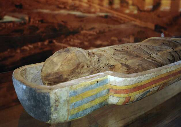 "The mummy of a man named Nes-pa-qa-shuti, which dates to about 650 B.C., is on display at the ""Mummies of the World"" touring exhibit at the Witte Museum. Photo: Billy Calzada, San Antonio Express-News / © San Antonio Express-News"