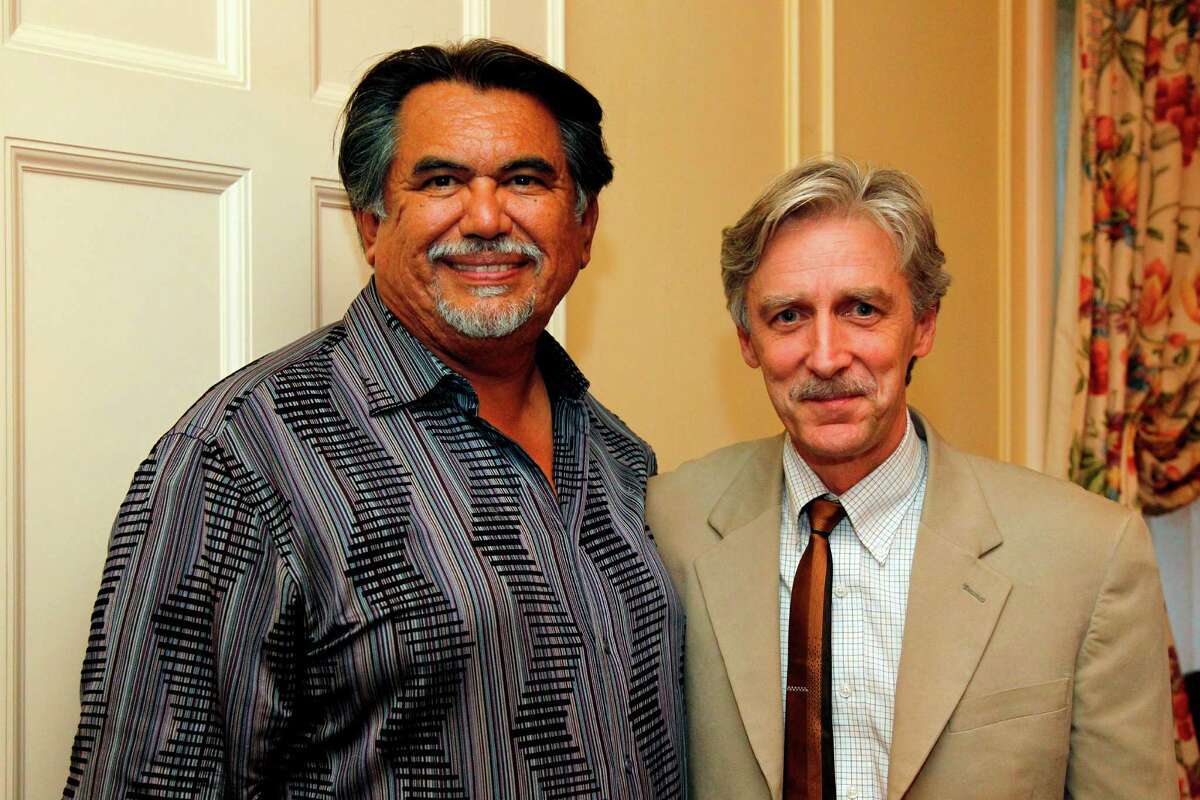 Jesus Morolos, left, and Douglas Dempster , Dean of the College of Fine Arts at the University of Texas at Austin