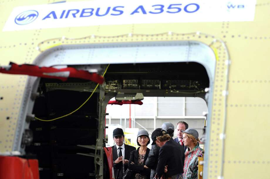 Fleur Pellerin visits the Airbus A350 XWB assembly  plant. Photo: AFP, AFP/Getty Images / 2012 AFP