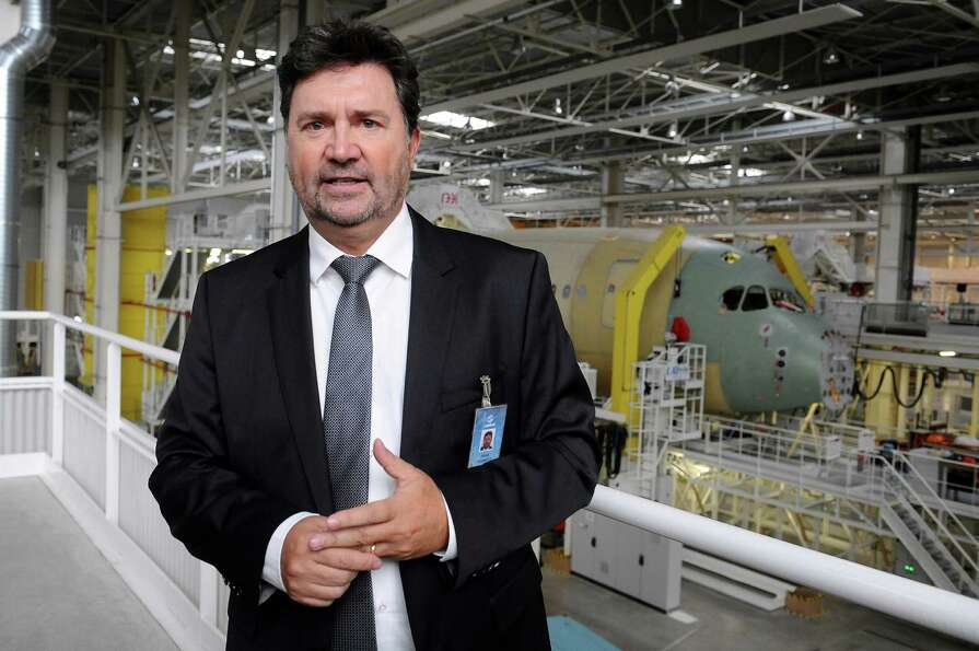 General Manager of Airbus Operations Patrick Pietrafita poses in the assembly plant in Toulouse, Fra