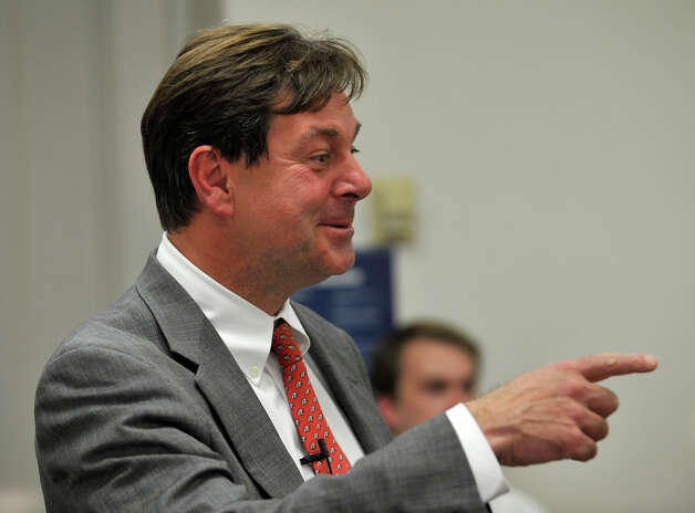 State Sen. Andrew Roraback, the Republican candidate for the 5th Congressional District, speaks to Scott Benjamin's American Government class at Western Connecticut State University's midtown campus on Tuesday, Sept. 25, 2012. Photo: Jason Rearick / The News-Times