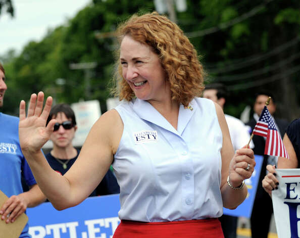 Elizabeth Esty, a candidate for congress in the 5th district, walks in the Labor Day Parade in Newtown Monday, Sept. 3, 2012. Photo: Carol Kaliff / The News-Times