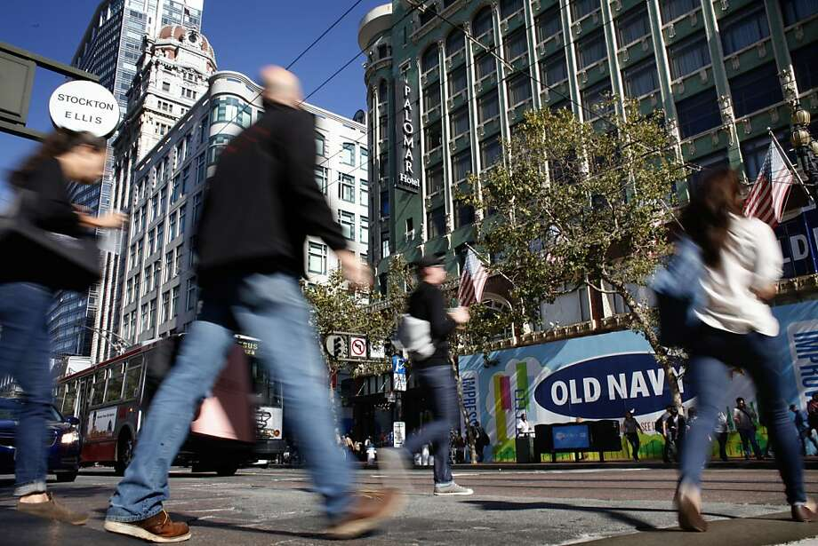 Retailers and pedestrians are both drawn to the intersection of Stockton, Market and Fourth streets. Photo: Lacy Atkins, The Chronicle