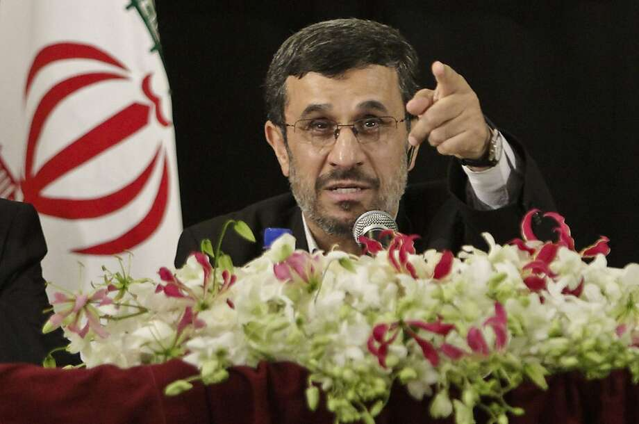 Iranian President Mahmoud Ahmadinejad fieldsa question during a press conference in New York after addressing the 67th session of the United Nations General Assembly on Wednesday, Sept. 26, 2012.  (AP Photo/Bebeto Matthews) Photo: Bebeto Matthews, Associated Press