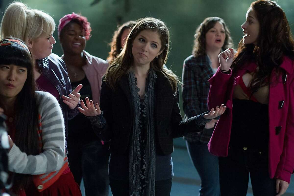 (L to R, foreground) Lilly (HANA MAE LEE), Fat Amy (REBEL WILSON), Cynthia Rose (ESTER DEAN), Beca (ANNA KENDRICK) and Stacie (ALEXIS KNAPP) in