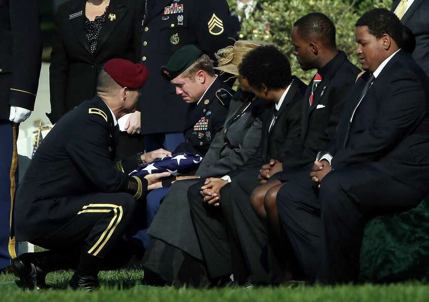 During a burial service for U.S. Army Chief Warrant Officer 2 Thalia S. Ramirez, Brigadier Gen. Char