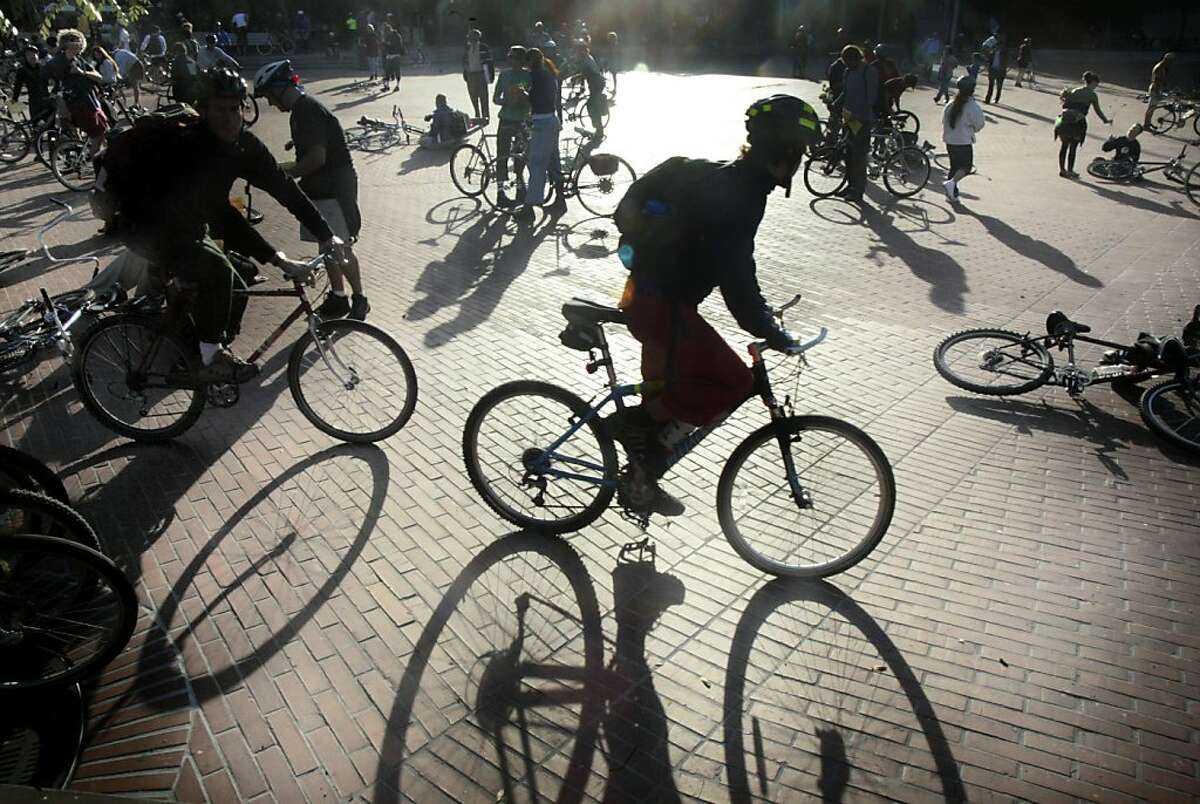 Thousands of bike riders gather at Justin Herman Plaza in preperation for the 10th anniversary of Critical Mass.