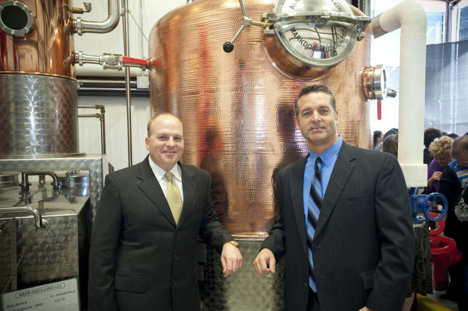 Trey Azar (left) and Steve Dean are co-founders of Cinco Vodka. The water they use is naturally filtered through the local Cordova Cream limestone, according their website. Photo: .