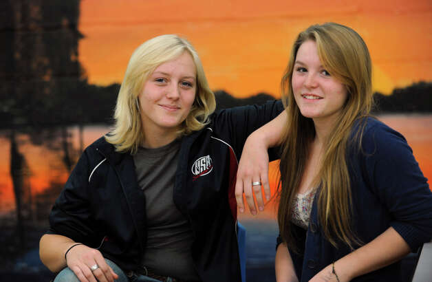 From left, sisters Breanna Flint, 17, and Lindsey Flint, 16 Tuesday, Sept. 25, 2012 in Galway, N.Y.  The Galway High School sisters participate in the sport of shooting. (Lori Van Buren / Times Union) Photo: Lori Van Buren