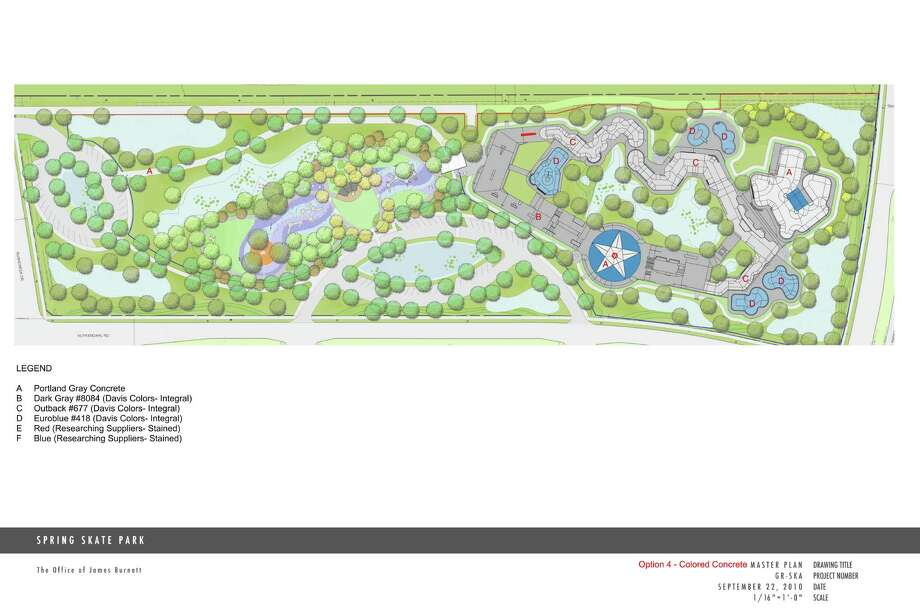 An artist's rendering shows a 10-acre, $5.5 million skate park and recreation area for Greenspoint residents. It is also a 'park without limits' for disabled children, and construction should begin by the end of this year. / The Office of James Burnett