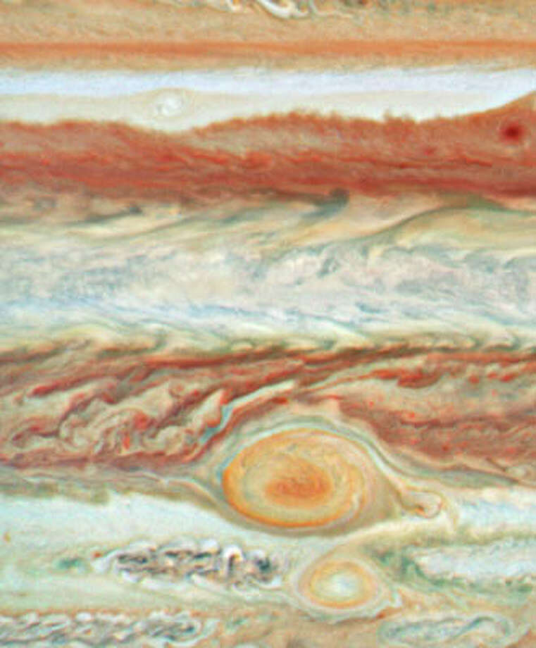 Hubble is perhaps at its best when trained upon the closest objects. This spectacular shot shows the Great Red Spot on Jupiter, just two planets away.