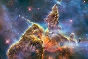 """The """"Pillar and Jets"""" section of the Carina Nebula."""
