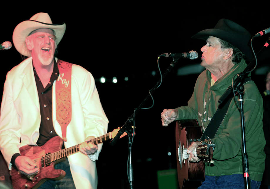 Ray Benson and Alseep at The Wheel are joined on stage by George Strait at the grand opening celebration for the newly renovated Tapatio Springs Resort, with proceeds benefiting the Kendall County Women's Shelter, Friday, November 11, 2011, at Tapatio Springs Resort outside of Boerne, Texas.  Photo: J. MICHAEL SHORT, SPECIAL TO THE EXPRESS-NEWS / THE SAN ANTONIO EXPRESS-NEWS