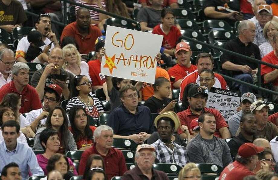 "Sept. 26: Astros 2, Cardinals 0Astros fans flash a ""Go Astros"" sign. ( Karen Warren / Houston Chronicle ) (Karen Warren / Houston Chronicle)"