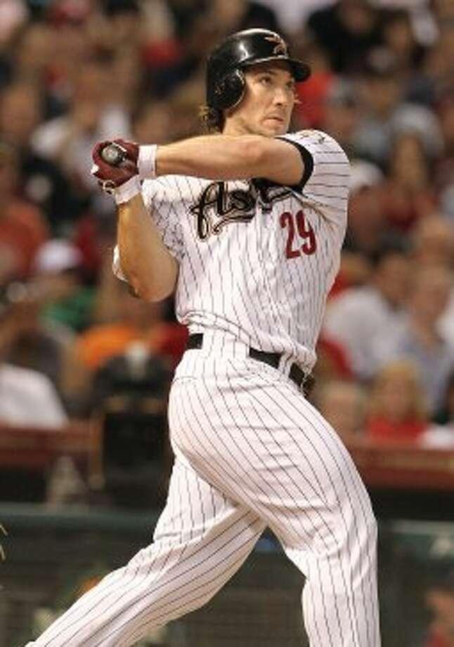 Brett Wallace (29) hits an RBI double during the fourth inning. ( Karen Warren / Houston Chronicle ) (Karen Warren / Houston Chronicle)