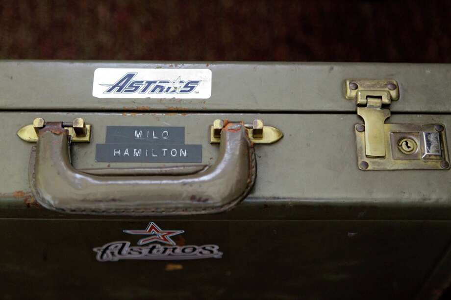 A brief case given to Milo Hamilton in 1961 sits beside his chair in the radio booth where he will call the Houston Astros and St. Louis Cardinals game. The brief case was Christmas gift from when he worked for the White Sox. Photo: Melissa Phillip, Houston Chronicle / © 2012 Houston Chronicle