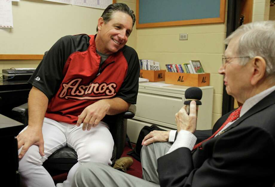 Milo Hamilton interviews Houston Astros manager Tony DeFrancesco for the pre-game show Wednesday, Sept. 26, 2012, at Minute Maid Park in Houston. Photo: Melissa Phillip, Houston Chronicle / © 2012 Houston Chronicle